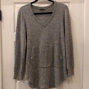 Grey and White V Neck Tunic Sweater